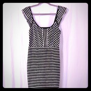 BCBGMAXAZRIA Striped Ruffled Sheath Dress